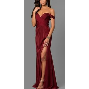 Wine Red Prom Wedding Gown